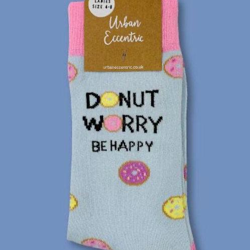 Doughnut Worry be Happy socks ladies 4-8