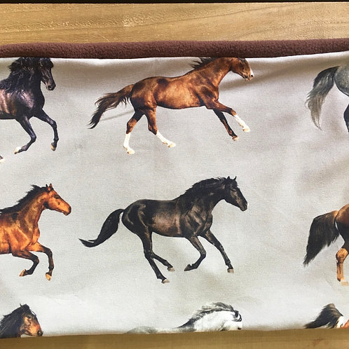Horse print jersey snood lined with chestnut brown polar fleec