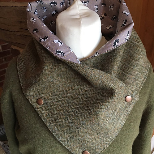 Handmade British tweed wrap scarf lined with cow print cotton