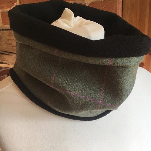 Green check tweed neck warmer