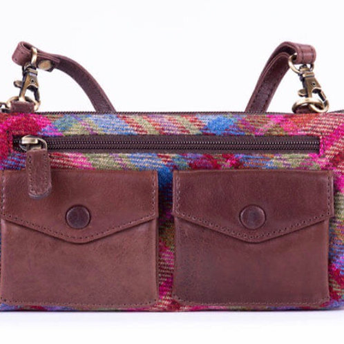 Fine leather and pink multi Islay tweed handbag
