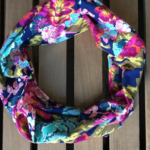 Jersey circular loop scarf floral art fabric