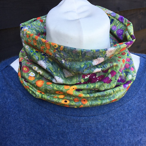 Gustav floral jersey lop neck scarf handmade
