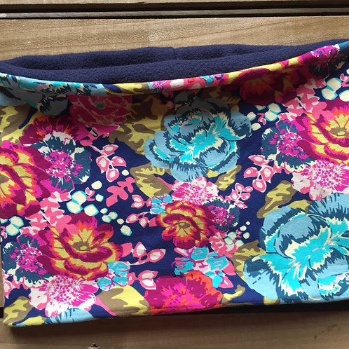 Stunning Art print floral jersey snood lined in navy pola fleece