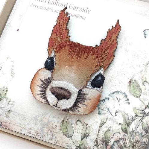 Vikki Lafford Garside embroidered squirrel brooch