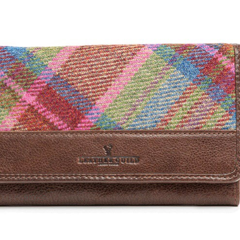 Leather and pink multi Islay tweed matinee large purse