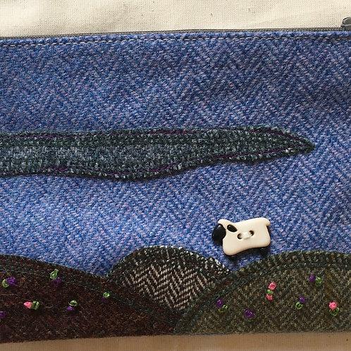 Handmade Tweed sheep applique purse