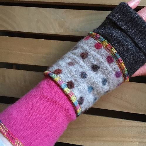 Reloved Woollies wristwarmers handmade from recycled wool