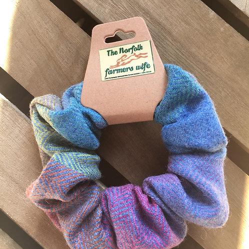 Tweed rainbow scrunchie