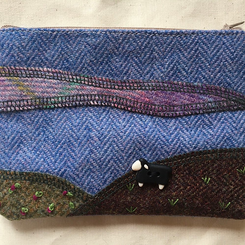Handmade Tweed sheep applique purse