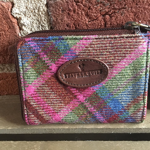 Pink multi Islay tweed and leather card/pass purse
