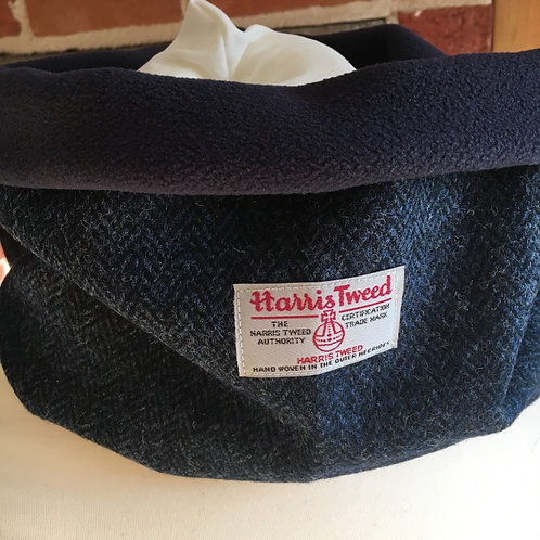 Handmade Harris tweed snood lined with navy polar fleece.