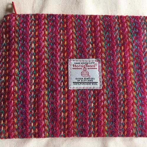 Hand made multicoloured Harris tweed purse