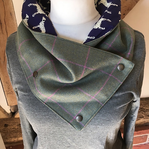 Hand made British wool tweed neck wrap scarf with Dalmatian cotton lining