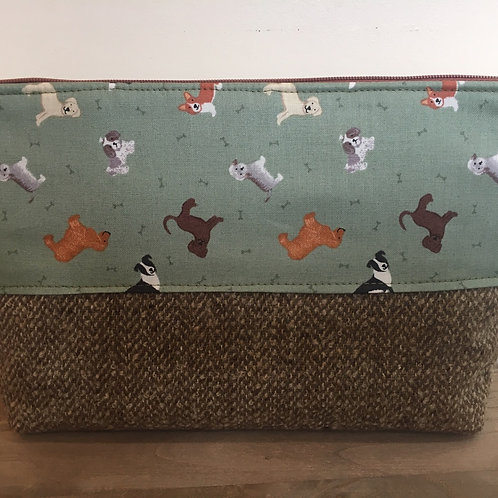 Handmade tweed Dog print large bag lined with dog print cotton.