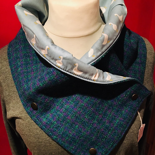 Hand made British wool tweed neck wrap lined with cotton geese lining
