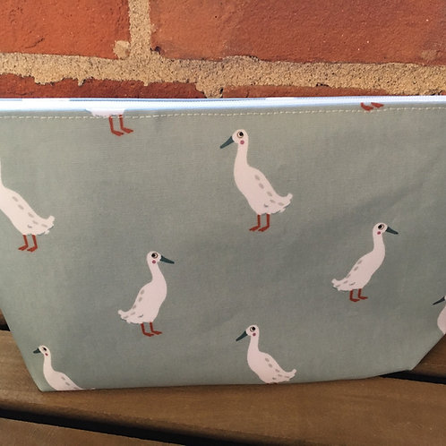 Runner duck oilcloth handmade makeup bag/wash bag