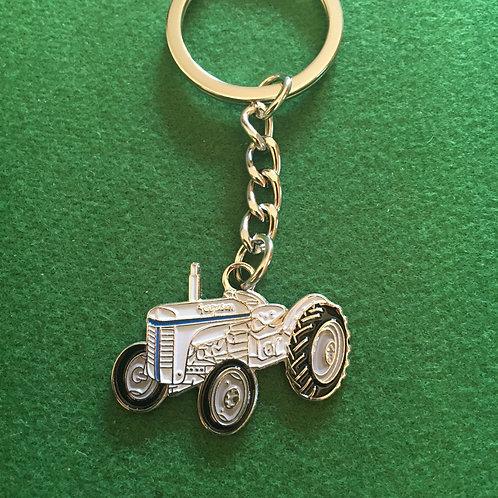 Grey Ferguson Tractor keyring enamel