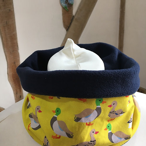 Adorable duck print jersey snood lined with navy fleece