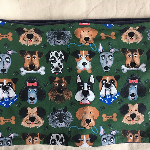 Hand made adult Dog print snood/neck warmer lined with navy fleece