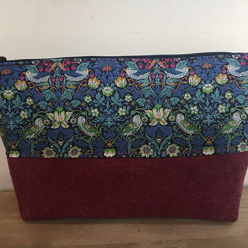 Hand made Liberty strawberry thief and tweed large bag lined