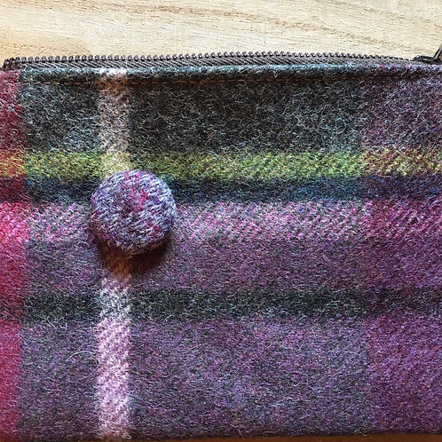 Abraham moon checked purse with autumnal cotton lining.