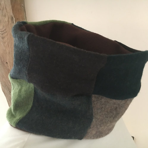 Reloved Woollies patchwork neckwarmer fleece lined