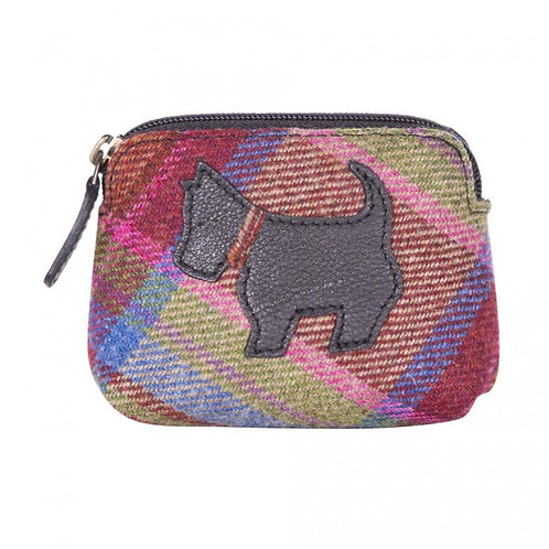 Pink multi Islay tweed and black leather dog coin purse