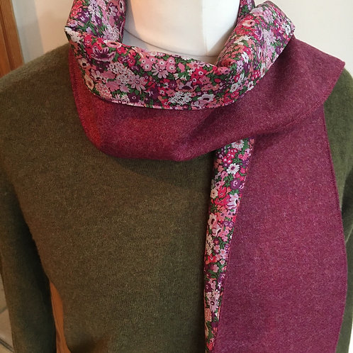 Abraham moon pink tweed scarf lined with Liberty tana lawn