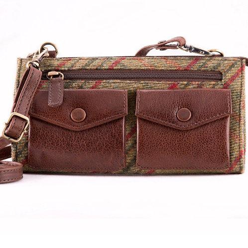 Fine leather and Islay tweed green check handbag