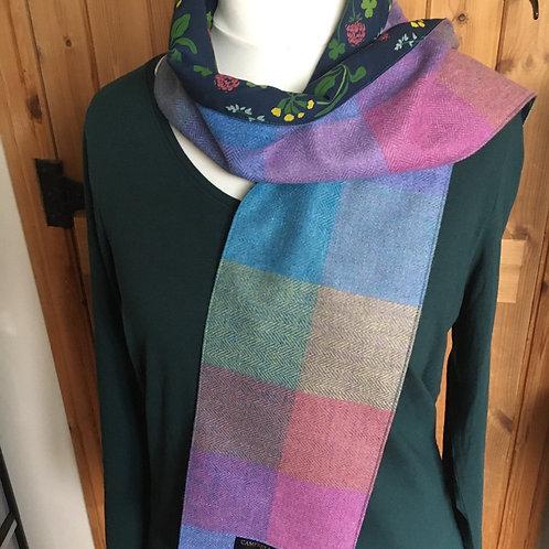 Rainbow Scottish tweed scarf lined with seasalt tana lawn
