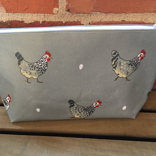 Pretty Chicken large oilcloth handmade Makeup bag lined with cotton