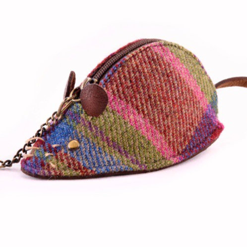 Leather and pink mix Islay tweed mouse coin purse with keyring