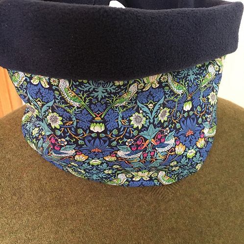 Hand made Liberty strawberry thief snood lined with polar fleece