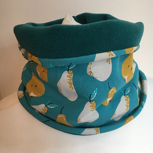 Pear print jersey snood lined with fleece