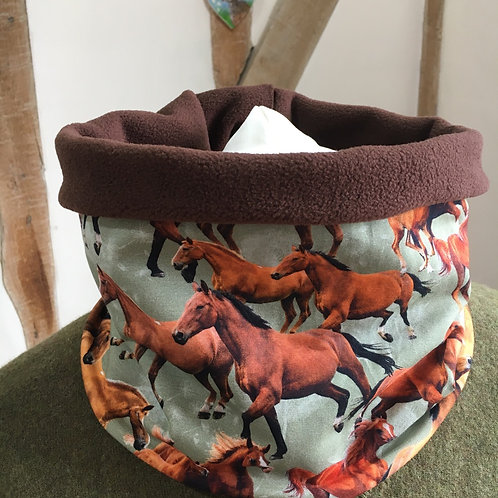 Stunning horse print jersey snood lined with chocolate colour fleece