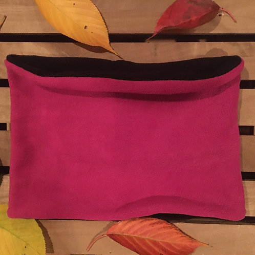 Pink and black reversible fleece snood handmade