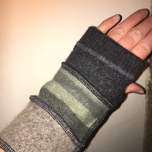 Hand made Reloved Woollies recycled wristwarmers