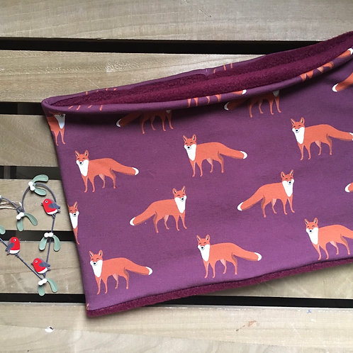 Fox snood lined with burgundy red polar fleece