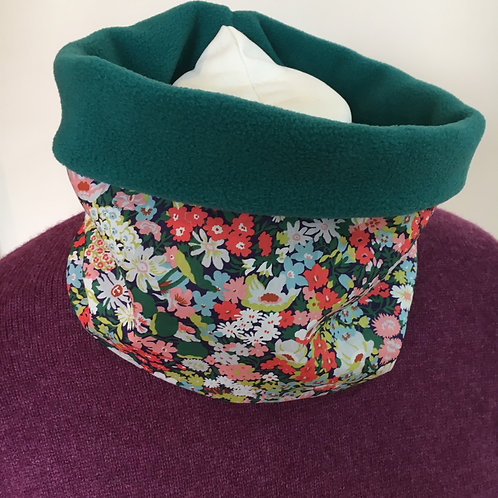 Handmade Liberty cotton snood lined with cosy polar fleece