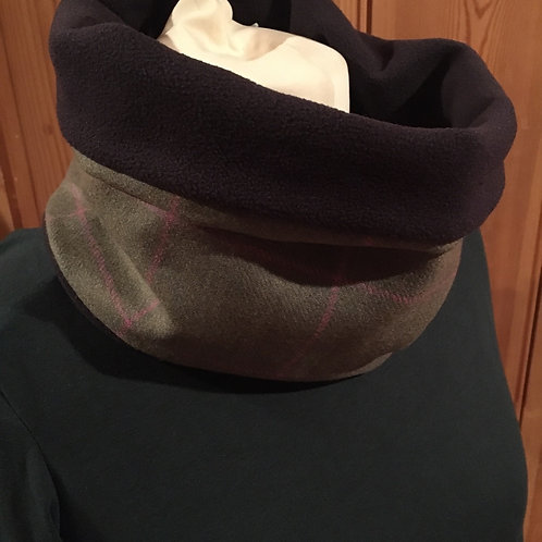 Green with pink check British tweed snood with navy fleece lining