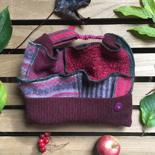 Reloved Woollies recycled patchwork hat