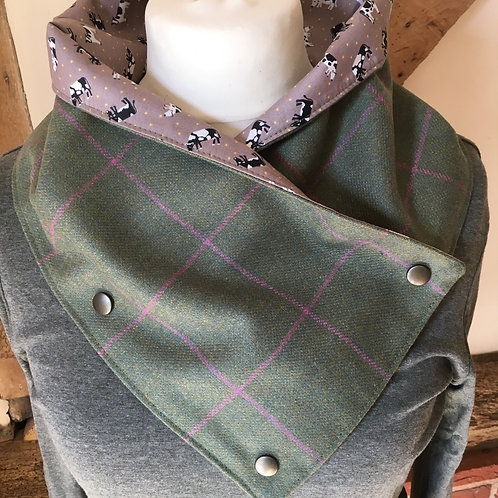 Hand made British wool tweed neck wrap scarf lined in cow print cotton