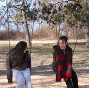 Hope Perry and Marili Mejias Reheasring on swingset