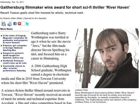 "Barry Worthington, Limitless Films' ""River Haven"" Award covered in Gaithersburg Gazette"