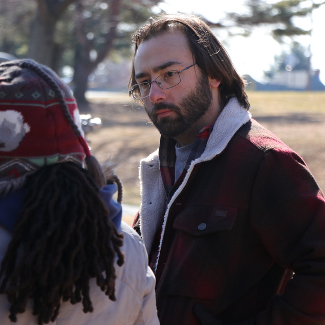 Mitra I Arthur, Assistant Director, and Barry Worthington, Director, on set for BUMMER