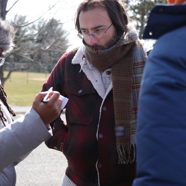 Assistant Director Mitra I Arthur, Director Barry Worthington on set for BUMMER