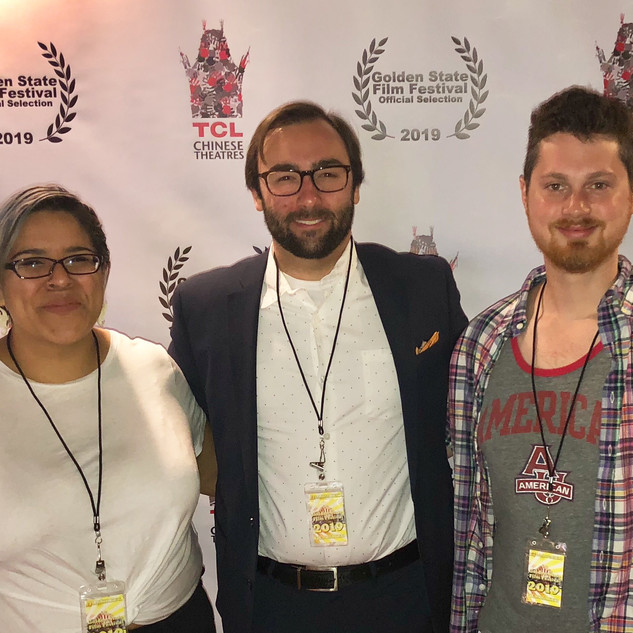 Michelle Hernandez, Cinematographer, Barry Worthington, Director, and Richie Wenzler, Producer, at BUMMER screening in Chinese 6 theatres, Hollywood, at Golden State Film Festival.jpg
