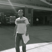 Barry at Laytonsville Fire Station BandW