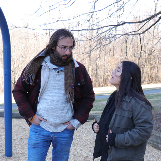 Barry Worthington, Director, and Hope Perry on set for BUMMER